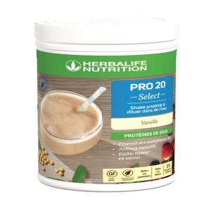 PRO 20 Select - Shake protéiné à diluer dans de l'eau Vanille 630 g